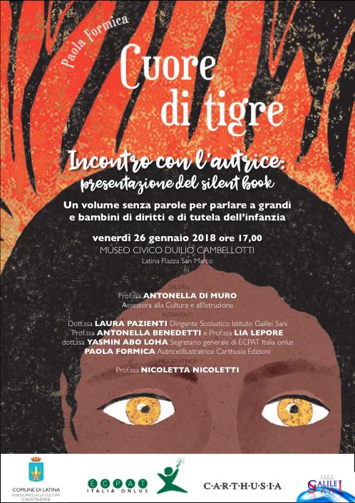 Locandina presentazione libro Cuore di tigre 26 gennaio ore 17 museo cambellotti